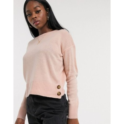 ブレーブソウル レディース ニット・セーター アウター Brave Soul harlow crew neck sweater with button detail in pink
