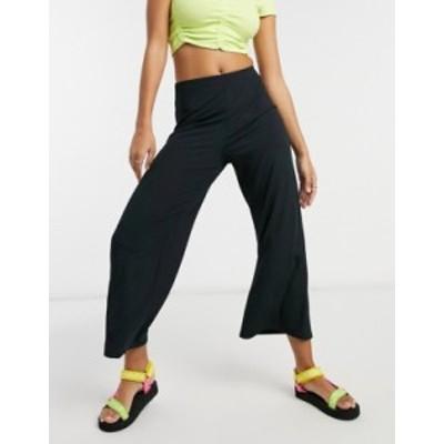 ニュールック レディース カジュアルパンツ ボトムス New Look wide leg ribbed crop pants in black Black
