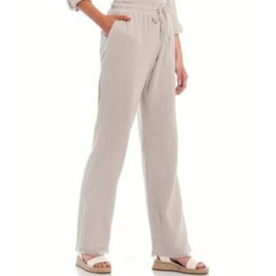 カルバンクライン レディース カジュアルパンツ ボトムス Jeans Crepe Gauze Relaxed Straight Leg Drawstring Waist Pants Khaki