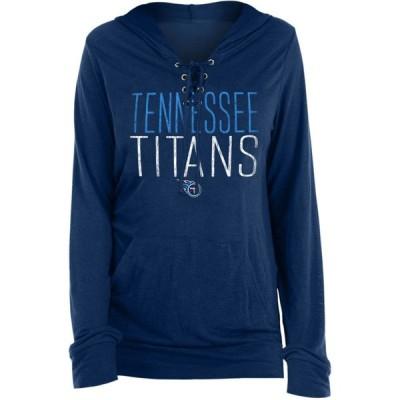 ニューエラ New Era レディース パーカー トップス Tennessee Titans Lace Hood Navy Long Sleeve T-Shirt