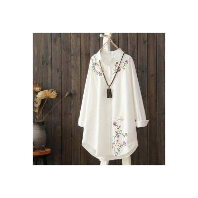 花柄ロング刺繍ブラウスレディーストップスシャツ刺繍ロング丈ホワイトシャツ花柄シンプルwear.com