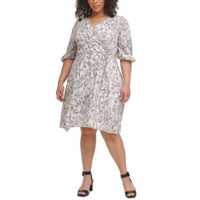 カルバンクライン ワンピース トップス レディース Plus Size Floral-Print Surplice-Neck Challis Dress Blossom Multi