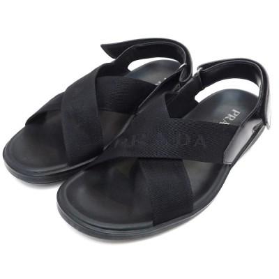 PRADA ロゴストラップレザーサンダル ブラック サイズ:7 (池袋店) 201124