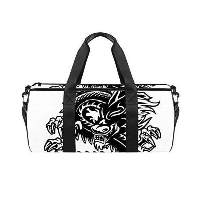 Sport Duffel Bag Black and white dragon Gym Bag Kids Travel Bag Weekend Bag