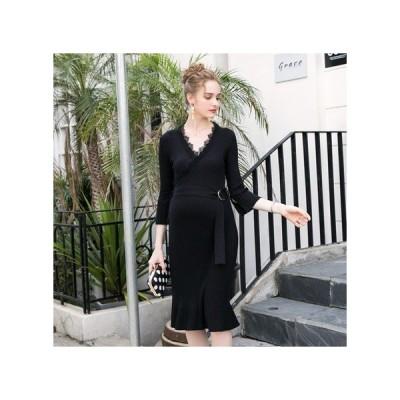 透け感レース ブラック マタニティドレス フォーマル パーティードレス お呼ばれドレス kh-1134