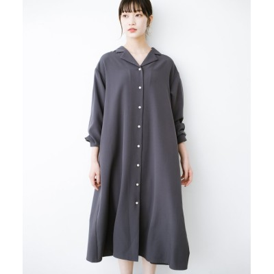 【ハコ】 羽織っても1枚でも重ね着でも!着まわし自由自在なAラインシャツワンピース レディース チャコール グレー M haco!