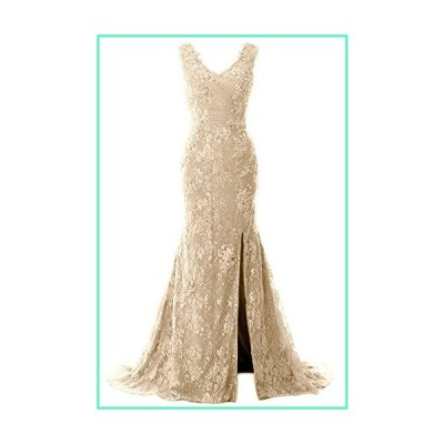 MACloth Women Mermaid Long Wedding Dresses V Neck Lace Evening Prom Gown (US26w, Champagne)並行輸入品
