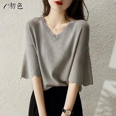 初色  寬版五分袖針織衫-灰色-(F可選)