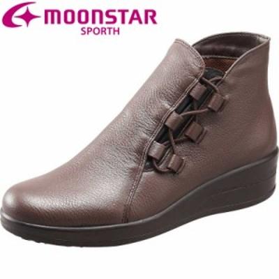 送料無料 ムーンスター スポルス レディース ウィンターブーツ 靴 SP7763JSR ダークブラウン 防滑 本革 国産 スペラン ブーツ