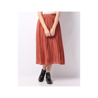 INTERPLANETSELECT 【LA】シアーボイルプリーツスカート(オレンジ)【返品不可商品】