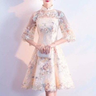 フラワー刺繍パーティードレス 3色 花柄 チュールレース チャイナカラー ワンピース フレア ひざ丈 ミディアム 七分袖 スタンドカラー