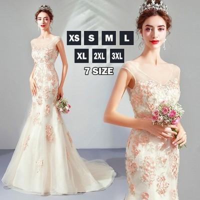 ウェディング シンプル ウエディングドレス マーメイドライン トレーン 花飾り 背中見せ 結婚式 ロング 花嫁 二次会 透け感レース パーティー 細身