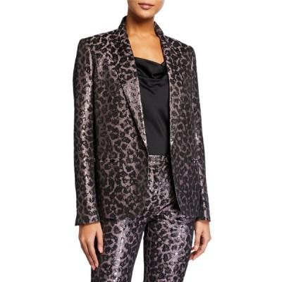 タニアテイラー レディース ジャケット・ブルゾン アウター Analiese Metallic Leopard-Print Blazer