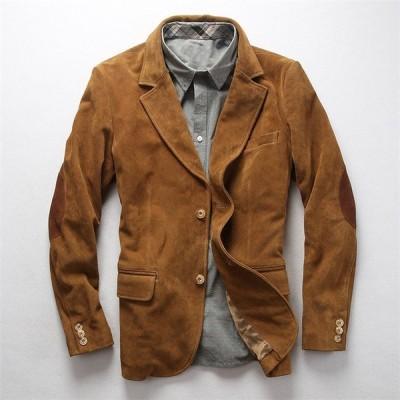 本革ジャケット レザージャケット メンズ ビジネスアウター スーツ スエード革ジャン 牛革 春秋冬 カジュアル 高級品