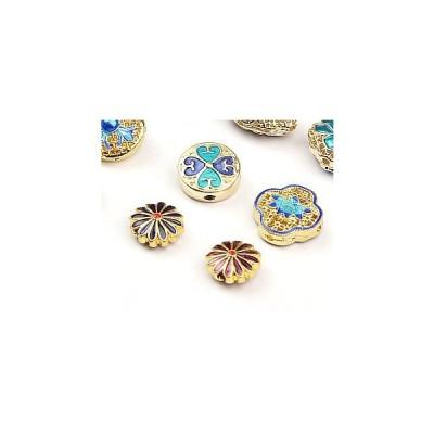 七宝焼き 菊花立体ビーズ  中国伝統景泰藍 ペンダント ブレスレットバーツ