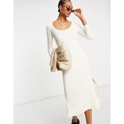 アンドアザーストーリーズ レディース ワンピース トップス & Other Stories ECOVERO long sleeve knit midi dress in off-white