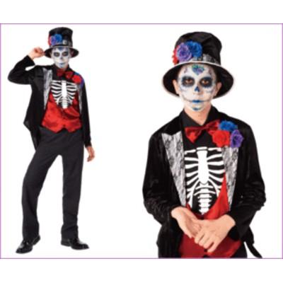 【メンズ】グルーム【花婿】【スカル】【シュガースカル】【ハロウィン】【コスプレ】【コスチューム】【衣装】【仮装】【集団仮装】【か