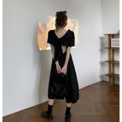 韓国 ファッション レディース ワンピース ロング リボン 背中見せ フレア ハイウエスト バックシャン セクシー ガーリー 大人可愛い 夏