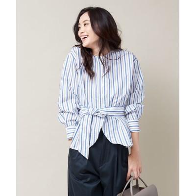 qualite/カリテ アキハストライプペプラムシャツ ブルー 36
