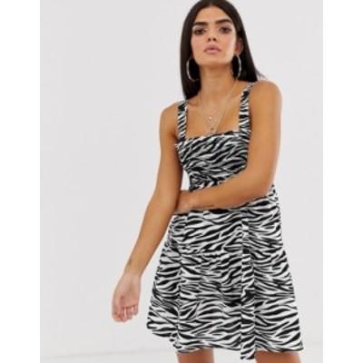 エイソス レディース ワンピース トップス ASOS DESIGN trapeze mini cotton sundress in mono zebra print Mono zebra