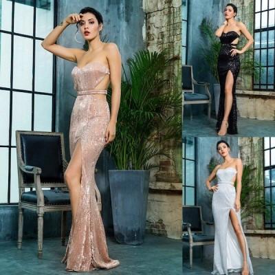 袖なし ドレス パーティードレス ロングドレス バックオープン 背中開き チューブトップ スパンコール スリット ロング丈 スレンダー 大きいサイズ
