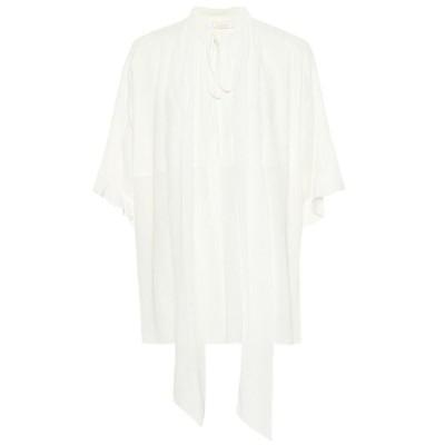 クロエ Chloe レディース ブラウス・シャツ トップス Silk crepon pussybow blouse White