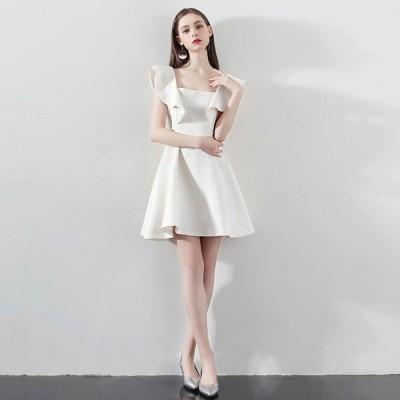 ミニドレス 結婚式 白 二次会 ミニ丈 安い ウェディングドレス 大きいサイズ パーティードレス 発表会 花嫁 コンサート おしゃれ wedding