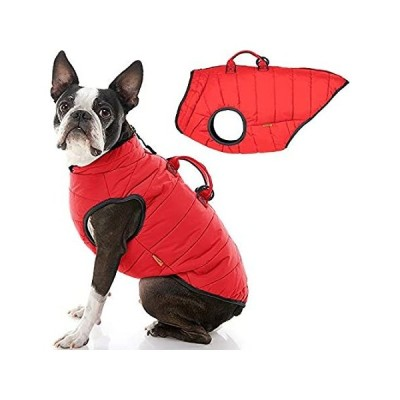 Gooby Padded Vest Lift Dog Jacket - Red, Large - Warm Zip Up Coat with Hand