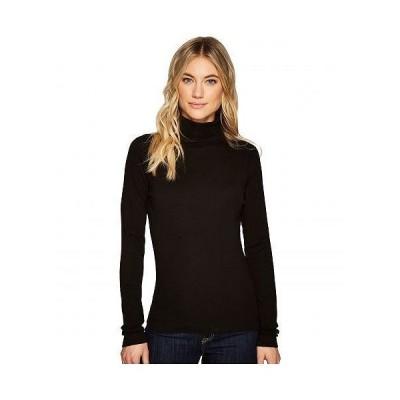 Three Dots スリードッツ レディース 女性用 ファッション Tシャツ Heritage Rib Long Sleeve Turtleneck - Black 1