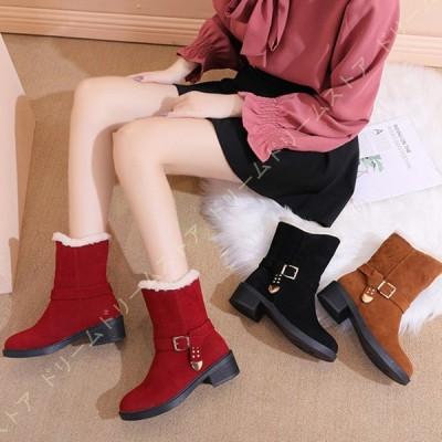 レディース ブーツ 靴 大きいサイズ チャンキーヒール 滑り止め コンフォート 通学 裏ボア かわいい ローヒール 通勤 ブーツ ラウンドトゥ シンプル