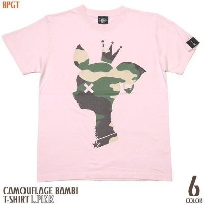 迷彩 バンビ Tシャツ ( ライトピンク ) -G- 半袖 桃色 ロゴtシャツ カモフラージュ かわいい bambi 子鹿 アメカジ カジュアル