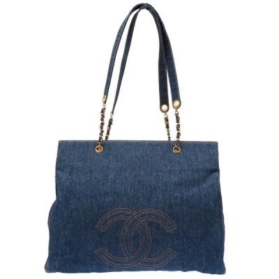 美品 シャネル デニム ブルー デカココ ココマーク ゴールドチェーン トートバッグ バッグ 青 0077 CHANEL