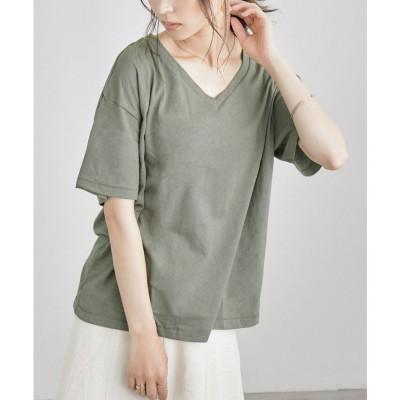 ファッションレター Fashion Letter コットンリネンVネックカットソー 大きいサイズ (カーキ)