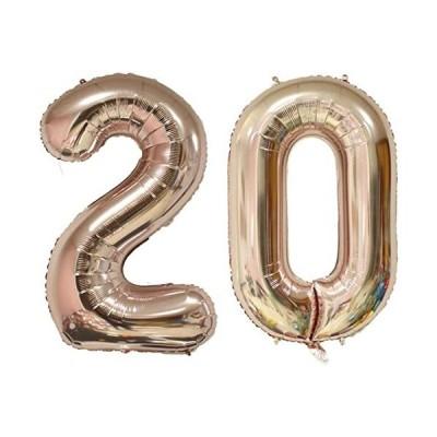 CHANGZHONG-20歳の誕生日バルーン、「2」&「0」巨大のバルーン、20周年記念、結婚記念日、卒業パーティー-ローズゴールド
