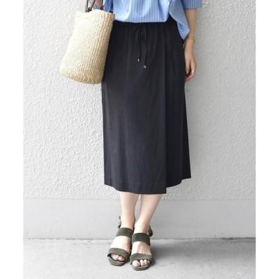 SHIPS for women / シップスウィメン 【手洗い可能】ドローストリングラップスカート