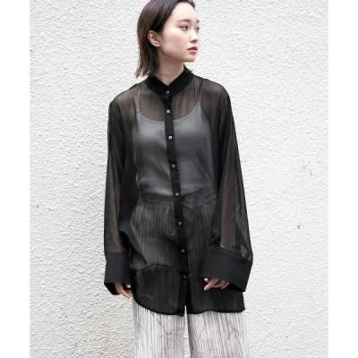 シャツ ブラウス スタンドカラーシアーシャツ/951259