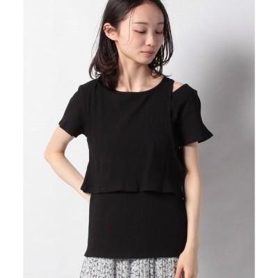 【ウィゴー】WEGO/リブレイヤード肩開きTシャツ