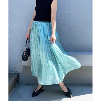 スカート メタリックギャザースカート