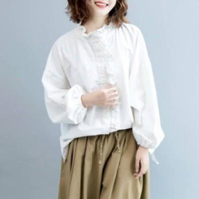 トレンド 売れ筋 シャツ ブラウス フリル プチハイネック シンプル ガーリー オーバーサイズ カジュアル オフィス 女子会 デート