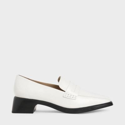 【再入荷】クラシックヒール ローファー / Classic Heeled Loafers (White)