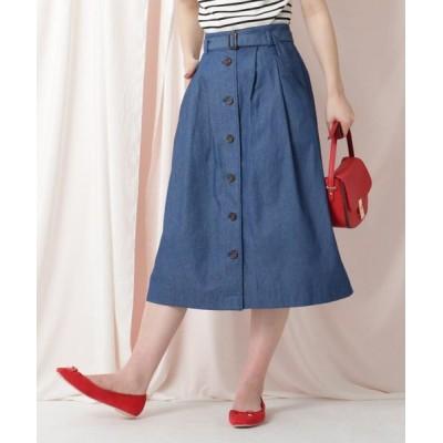 Couture Brooch/クチュールブローチ 【WEB限定サイズ(LL)あり/洗える】デニムライクスカート ブルー(092) 36(S)