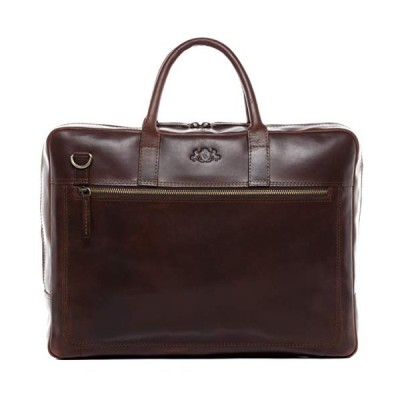"SID & VAIN Laptop Bag Dixon Large Business Briefcase Real Leather 15.6"" Laptop Leather Bag Women and Men Brown 並行輸入品"