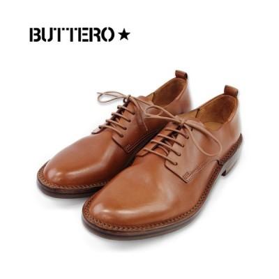 【BUTTERO ブッテロ】外羽プレーントゥシューズ(B6330) キャメル レザー