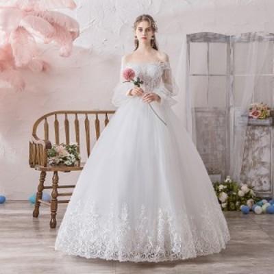ウエディングドレス プリンセス パーティードレス フェミニン 安い 可愛い 結婚式 披露宴 花嫁 ブライダル ロング