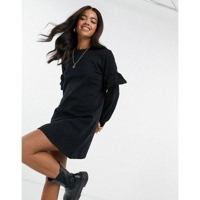 ニュールック レディース ワンピース トップス New Look frill sleeve sweatshirt mini dress in black