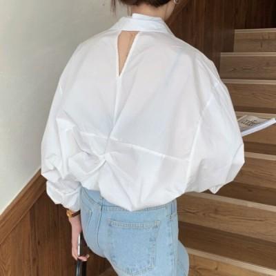 ブラウス レディース 韓国 ファッション バックシャン 春夏 トップス 長袖 オーバーサイズ ゆったり バックカット シンプル シャツ ブラウス きれいめ 韓国
