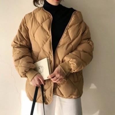 コート ブルゾン キルティングコート 無地 カジュアル シンプル ショート丈 大人かわいい 通勤 オフィス 秋冬 yi572