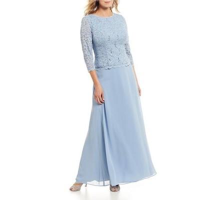 アレックスイブニングス レディース ワンピース トップス Petite Sequined Lace-Bodice Gown
