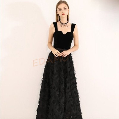 黒 パーティードレス ロング丈 ノースリーブ キャミドレス Aライン 二次会ドレス お呼ばれ 20代 30代 40代 発表会 演奏会ドレス