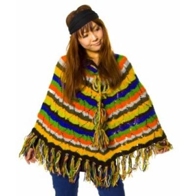 【送料無料】 ウールポンチョ 【レインボー】 / ネパール エスニック アジア エスニック衣料 アジアンファッション エスニックファッショ